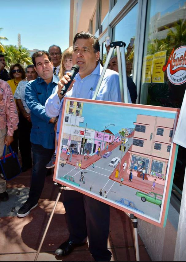 It was a proud moment and honor for my painting to be at the tribute to Alfredo Gonzalez, Sr., owner of David's Coffee Shop and Restaurant on 11th Street and Collins Avenue, South Beach